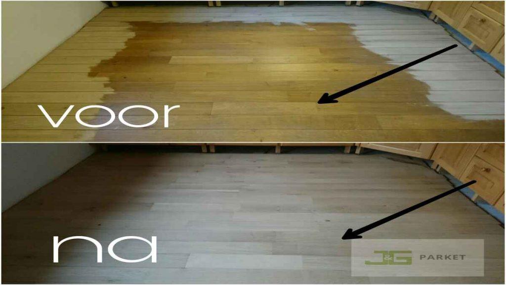 Verkleurde eiken vloer naar modern licht
